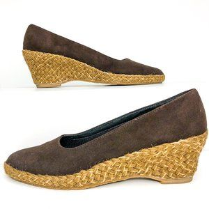 Orvis Size 7.5 Brown Faux Suede Espadrille Wedges